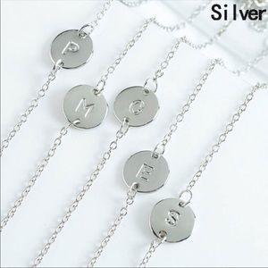 C initial dainty silver bracelet